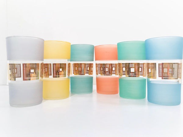 Mid-Century Modern Pastel Glasses (Set of 6)
