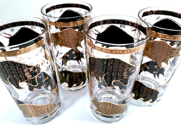 Hammacher Schlemmer Mid-Century Stock Market Bull and Bear Highball Glasses (Set of 4)