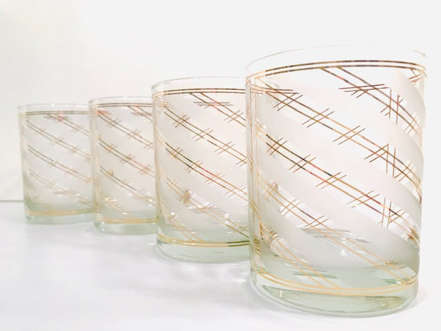 Culver Signed 22 karat Gold and Frosted White Swirl Double Old Fashion Glasses (Set of 4)