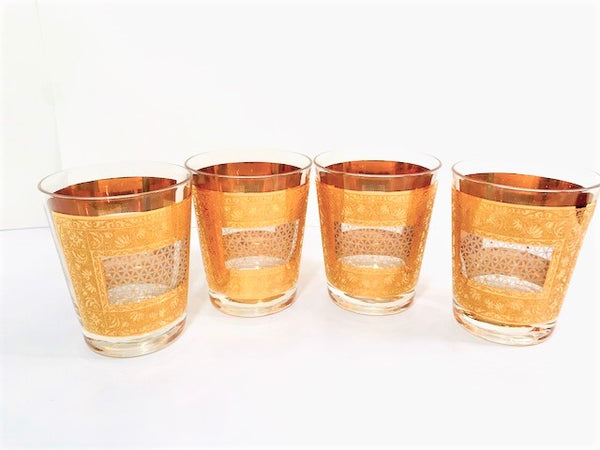 Pasinski Signed Mid-Century 22-Karat Gold Double Old Fashion Glasses (Set of 4)