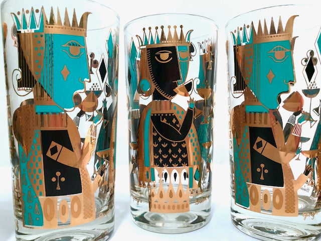 Georges Briard Signed Mid-Century It's In The Cards Glasses (Set of 7)
