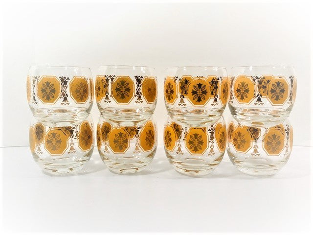 Federal Glass Mid-Century Octagna Roly Poly 8-Piece Set