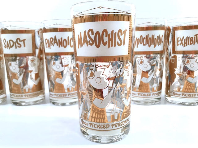 Georges Briard Signed Mid-Century Your Pickled Personality Highball Glasses (Set of 7)
