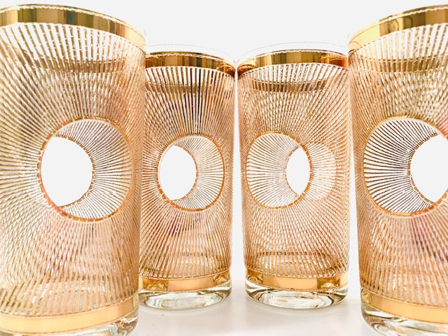 Culver Signed Mid-Century Aurora Golden Glasses (Set of 4)
