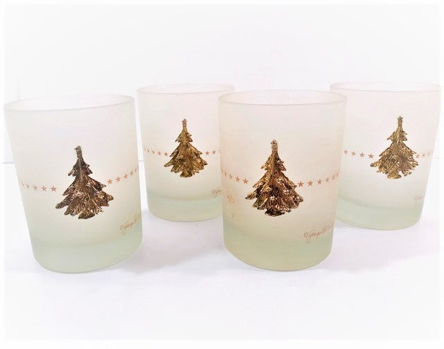 Georges Briard Signed Gold Snowflake Tree Double Old Fashion Glasses (Set of 4)