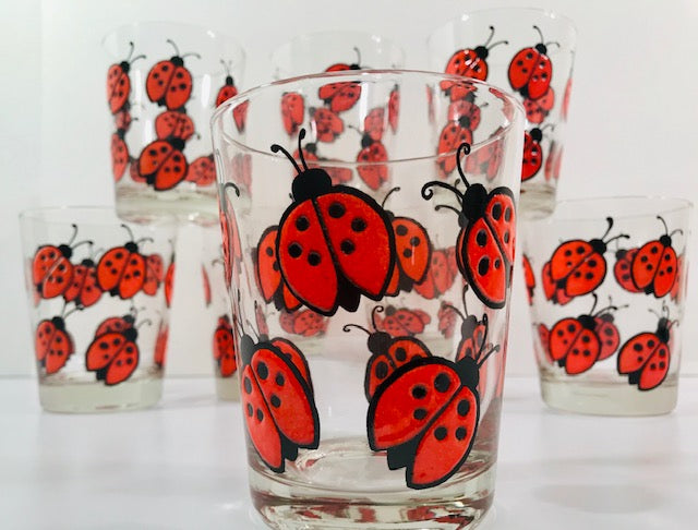 West Virginia Glass Company Ladybug Double Old Fashion Glasses (Set of 8)