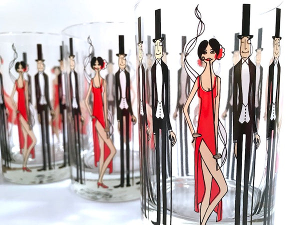 Cera Glass Signed Mid-Century Black Tie Event-All That Jazz Double Old Fashion Glasses (Set of 6)