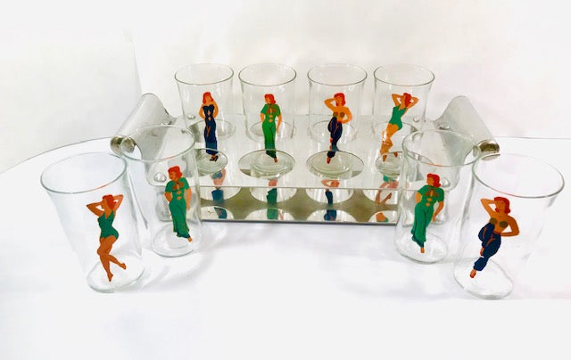 Art Deco Hand Painted Peek-A-Boo 9-Piece Cocktail Set