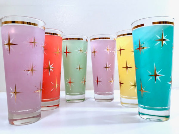 Mid-Century Atomic North Star Tall Collins Cocktail Glasses (Set of 6)
