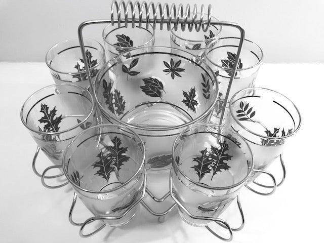 Libbey Mid-Century Silver Leaf 10-Piece Cocktail Bar Set