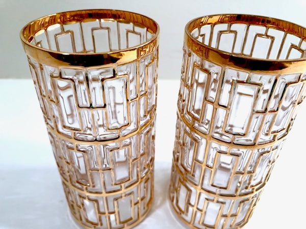 Imperial Glass Shoji 22-Karat Gold Mid-Century Highball Glasses (Set of 2)