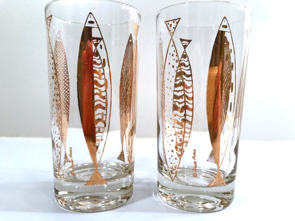 Fred Press Signed Mid-Century Clear & 22-Karat Gold Fish Highball Glasses (Set of 2)
