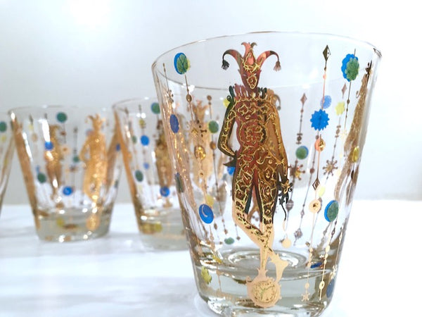 Culver Mid-Century Signed Mardi Gras Jester Double Old Fashion Glasses (Set of 4)