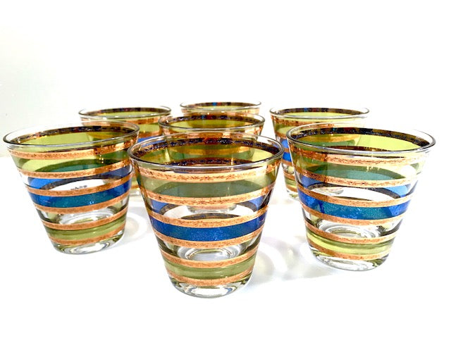 Culver Signed Mid-Century Blue-Green and Gold Stripe Old Fashion Glasses (Set of 7)