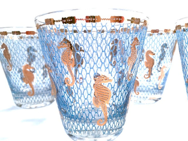 Culver Signed Mid-Century Seahorse Double Old Fashion Glasses (Set of 6)