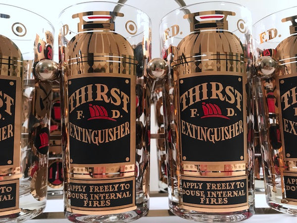 Georges Briard Signed Mid-Century Thirst Extinguisher Bar Set (Set of 8 with Carrier)