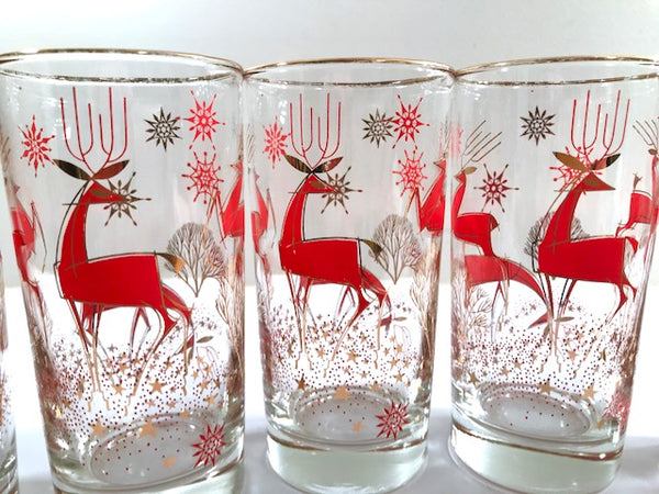 Mid-Century Atomic Deer Highball Glasses (Set of 6)