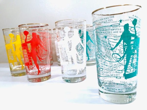 Dominion Glass Company Mid-Century Risqué Glasses (Set of 8 with Original Box)