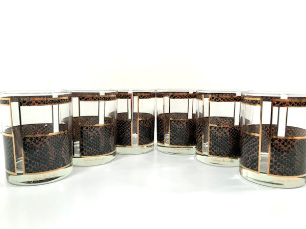 Georges Briard Signed Gold and Brown Snake Skin Double Old Fashion Glasses  (Set of 6)