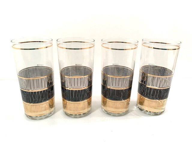 Culver Signed Mid-Century Silver, Black and Gold Highball Glasses (Set of 4)
