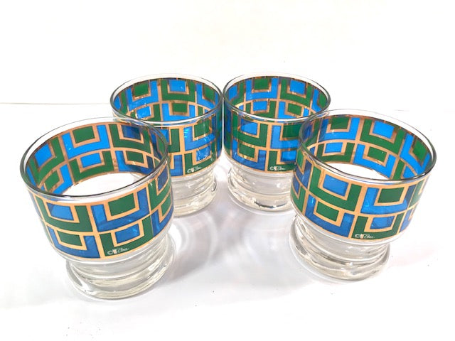 Cera Signed Gold, Blue and Green Retro Square Glasses (Set of 4)