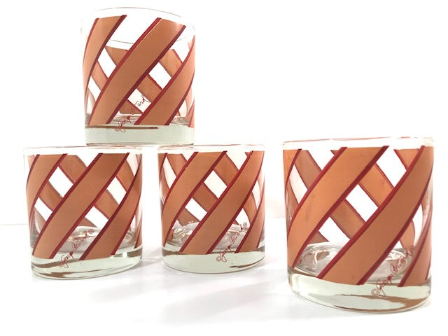 Georges Briard Signed Mid-Century Tan and Red Striped Glasses (Set of 4)