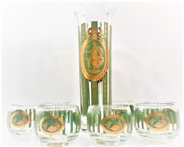 Cera Glass Signed Mid-Century Gold and Avocado 7-Piece Bar Set