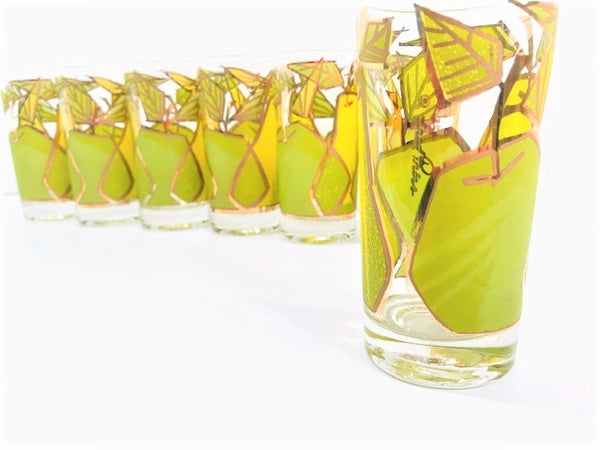 Fred Press Signed Mid-Century Forbidden Fruit Glasses (Set of 7)