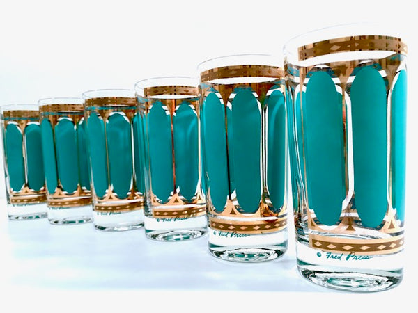 Fred Press Signed Mid-Century Turquoise Stripes & 22-Karat Gold Crown Highball Glasses (Set of 6)