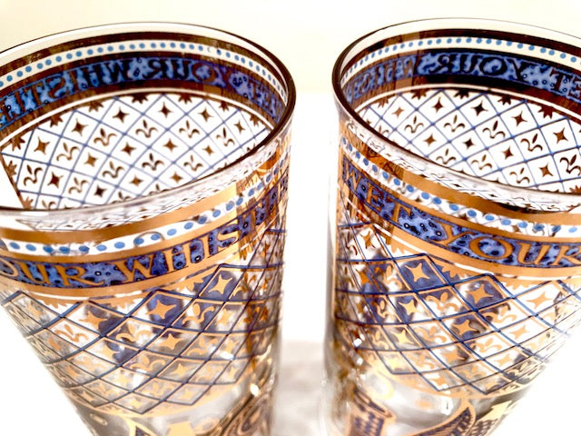Georges Briard Signed Mid-Century Wet Your Whistle Highball Glasses (Set of 2)