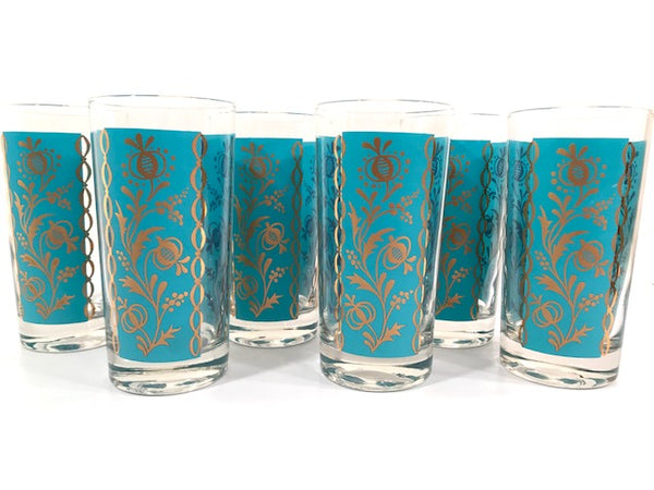 Mid-Century Gold and Turquoise Flower Scroll Highball Glasses (Set of 6)