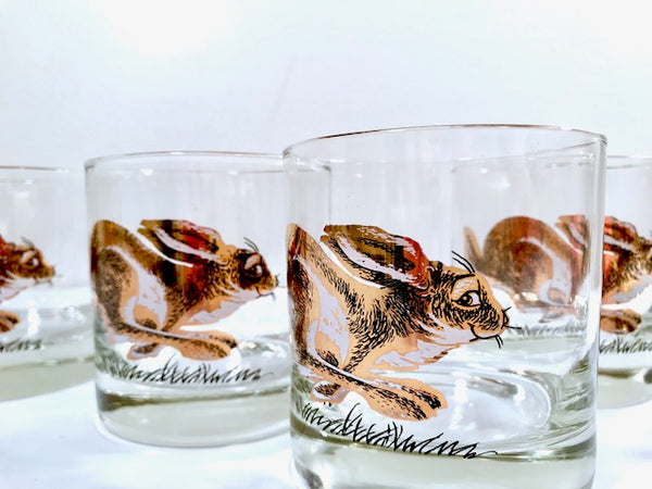 Couroc Signed Mid-Century Golden Rabbit Glasses (Set of 5)