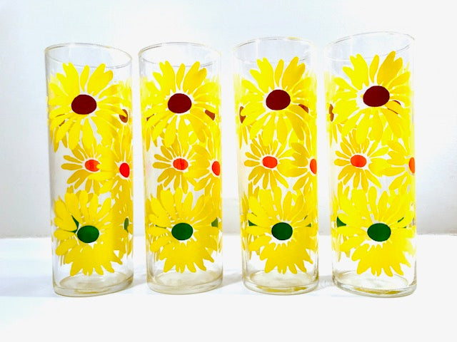 Federal Glass Retro Yellow Daisies Tall Collins Glasses (Set of 4)
