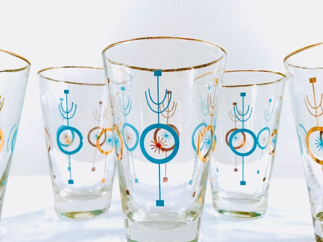 Libbey Atomic Turquoise and 22-Karat Gold Glasses (Set of 6)