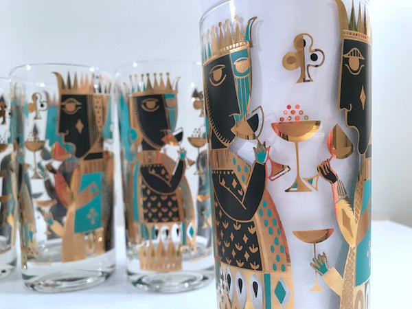 Georges Briard Signed Mid-Century It's In The Cards Glasses (Set of 6)