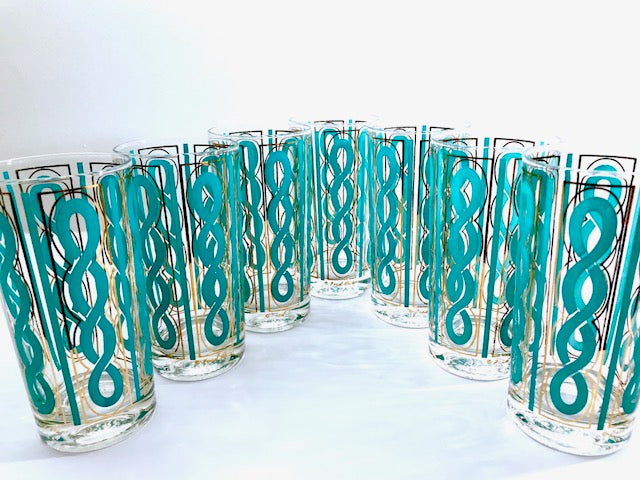 Fred Press Signed Mid-Century Turquoise and Gold Rope Highball Glasses (Set of 7)