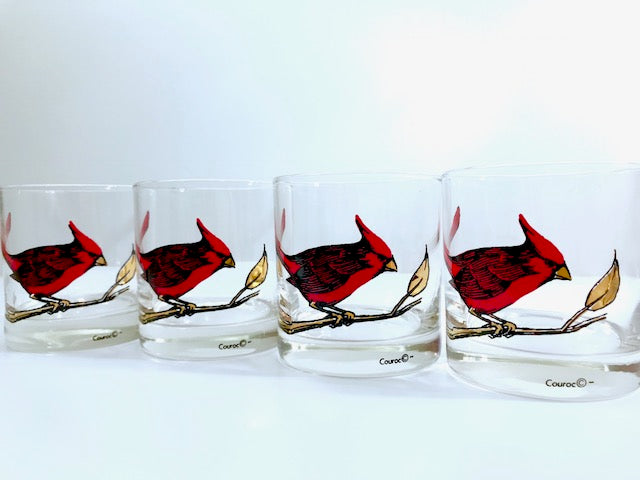 Couroc Signed Mid-Century Red Cardinal Old Fashion Glasses (Set of 4)