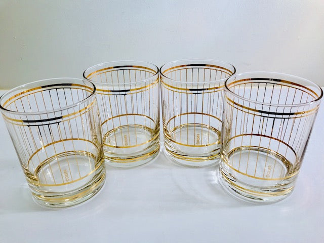 Culver Signed Mid-Century 22-Karat Gold Devon Double Old Fashion Glasses (Set of 4)