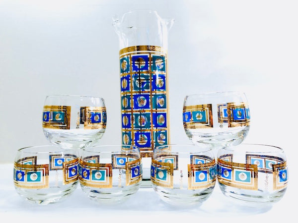 Culver Signed Mid-Century Blue -Green and 22-Karat Gold 8-Piece Cocktail Set