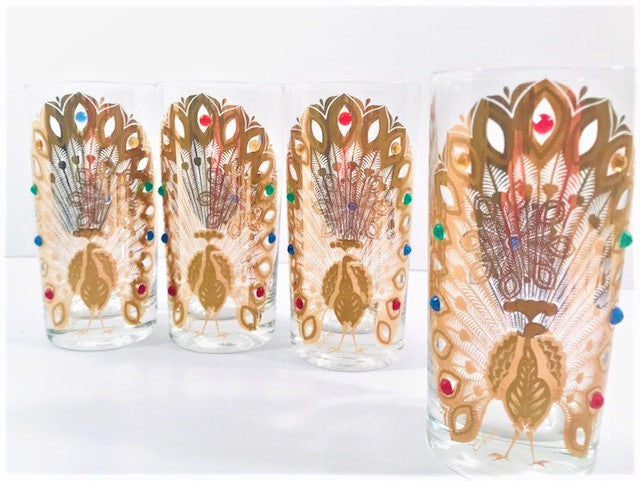 Culver Signed Mid-Century 22-Karat Gold Peacock Highball Glasses (Set of 4)