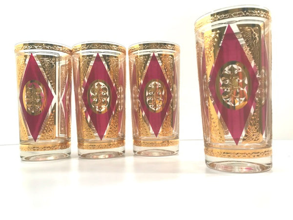 Culver Signed Mid-Century Gold and Amethyst Highball Glasses (Set of 4)