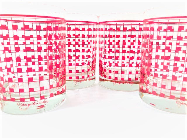 Georges Briard Signed Mid-Century Red Geometric Grid Double Old Fashion Glasses (Set of 4)