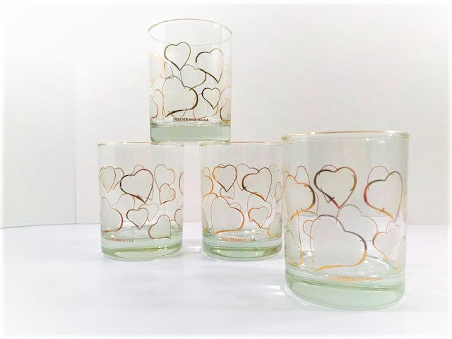 Culver Signed Mid-Century Frosted Hearts Double Old Fashion Glasses (Set of 4)