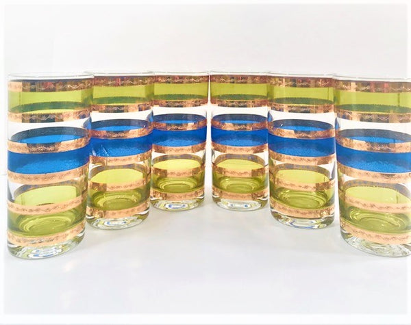 Culver Signed Mid-Century Blue-Green and Gold Stripe Highball Glasses (Set of 6)