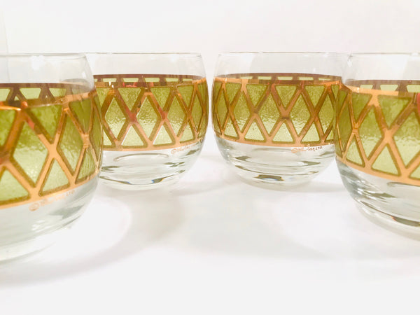 Culver Signed Gold and Green Diamond Roly Poly Glasses (Set of 4)