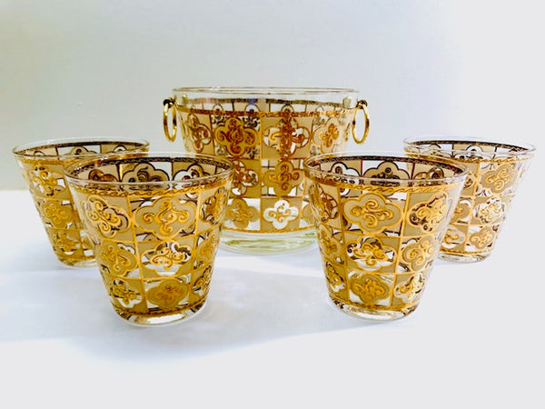Culver Signed Mid-Century 22-Karat Gold Clover 5-Piece Cocktail Bar Set