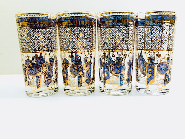 Georges Briard Signed Mid-Century Wet Your Whistle Highball Glasses (Set of 4)