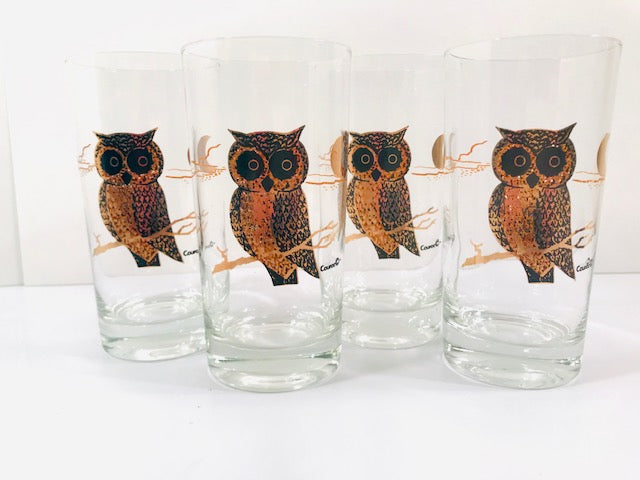 Couroc Signed Mid-Century Black and 22-Karat Gold Owl Glasses (Set of 4)