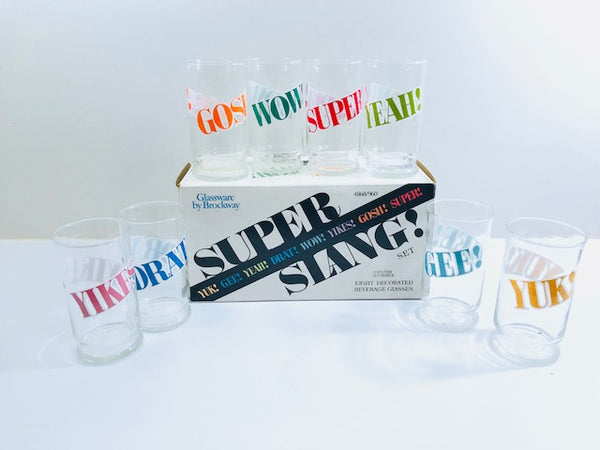 Brockway Vintage Retro Super Slang Glasses (Set of 8)