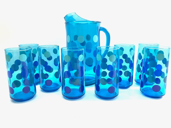 Retro Blue Polka Dot 9-Piece Set (8 Highball Glasses & Pitcher)